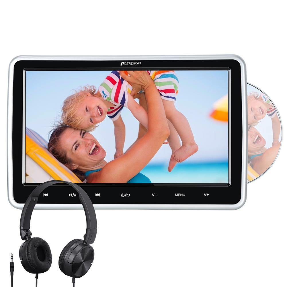 Pumpkin Car DVD Player 10.1'' Headrest Monitor with Headset Mounting Bracket Support HDMI Input AV in&Out Region Free Last Memory