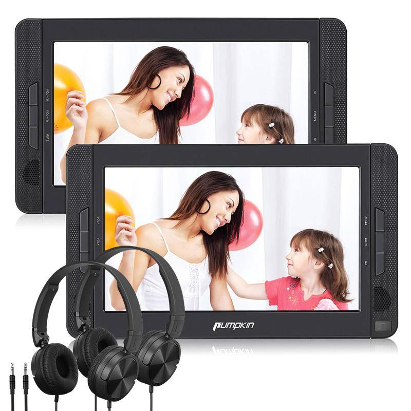 "10.1"" Portable DVD Player with Dual Screen Built-in Rechargeable Battery and 2 Wired Foldable Headsets Support Region Free"