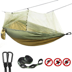 Fully-opened 2 in 1 Double Camping Hammock for 2 Person with Mosquito /Bug Net