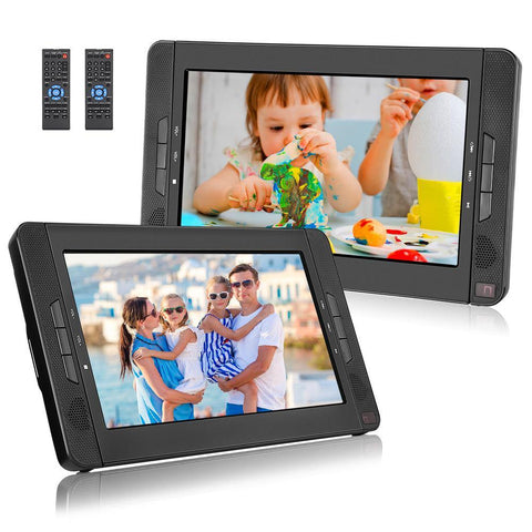 Portable DVD Player for Car 10.1'' Dual HD Headrest DVD Player, 5 Hours Playing Time, Support USB SD AV IN/OUT Last Memory