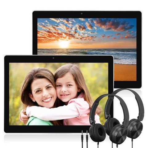 2x 10.1'' Car Tablet Android 8.1 Headrest Monitor with headphone IPS Low Blu-ray Eye Protection 2MP Front Camera WIFI Bluetooth
