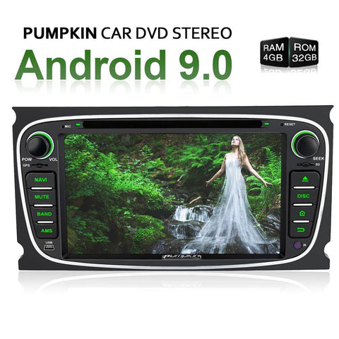 "Pumpkin 7"" Android 9.0 Head Unit for Ford Focus/Mondeo with Radio, Bluetooth, GPS navigation"