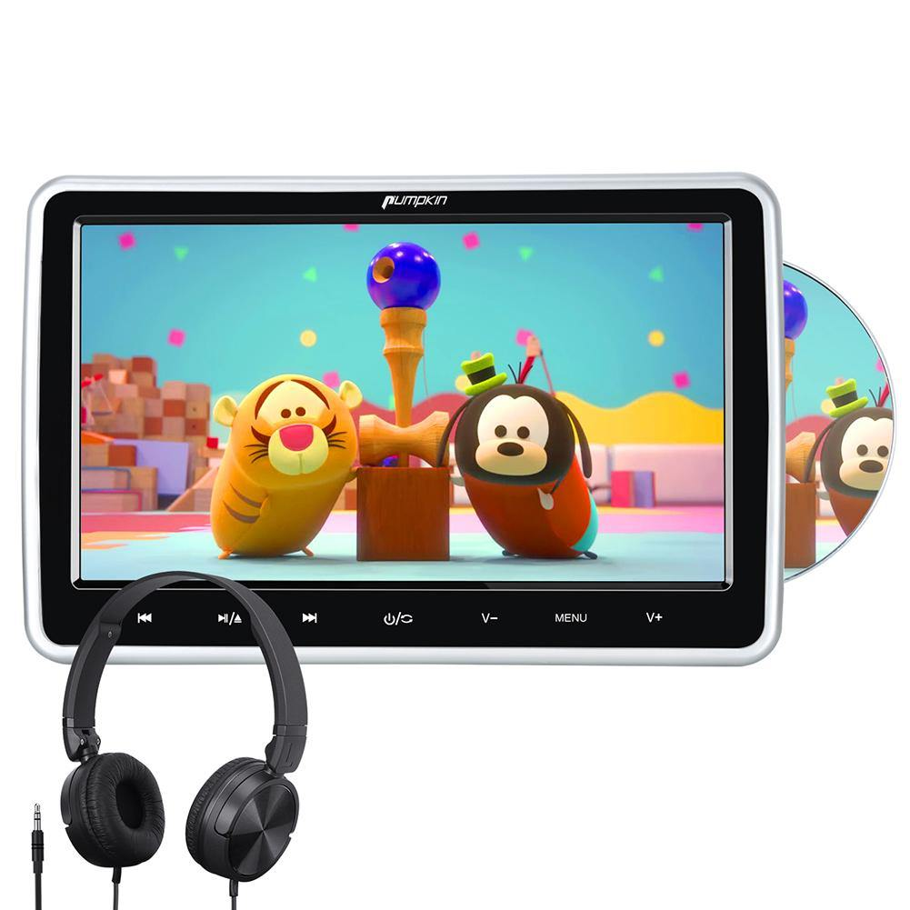 Pumpkin 10.1'' Car Headrest Monitor DVD Player 1024*600 Touch Screen Support HDMI Input AV in&Out Region Free Last Memory remote control