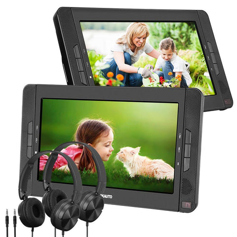 10.1 Inch Dual DVD Player Headrest, Portable DVD Player with 2 Universal Wired Foldable Headsets Built-in Rechargeable Battery