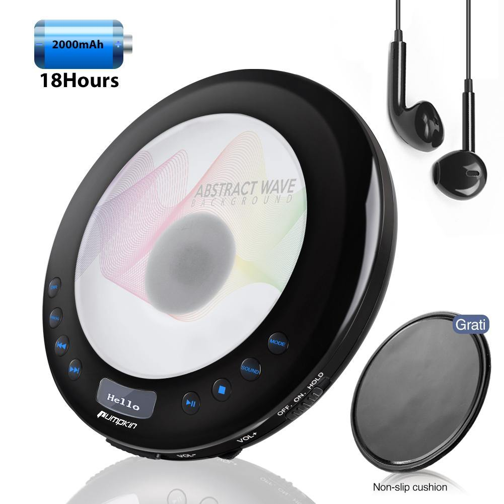 Portable MP3 Anti-Shock CD Player Built-in Rechargeable Battery with Earphones USB Charging Cable, Support Multiple Audio Formats