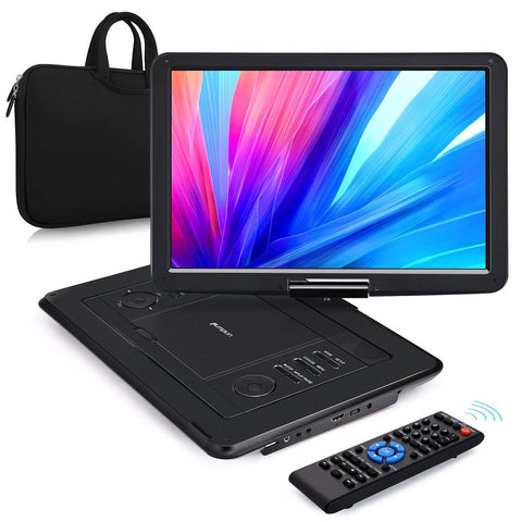 "Pumpkin 16"" Portable DVD Player with Free Handbag and 5000 mAh Rechargeable Battery, Support HDMI Input MP4 USB SD AV IN/OUT"
