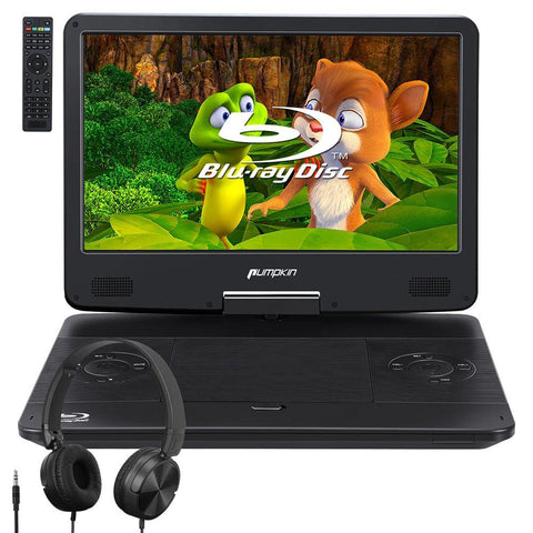 "Portable Blu Ray Player with 14"" Screen Wired Foldable Headset, Rechargeable Battery, AUX Cable, Supports 1080P MP4, HDMI Input/Output, Dolby AUDIO"