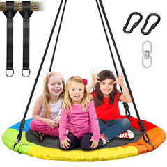"40"" Round Swing Set, 900D Oxford Fabric Flying Saucer Tree Swing for Kids, Adults and Teens - Round Indoor Outdoor Swingset Toys - Adjustable Hanging Ropes"