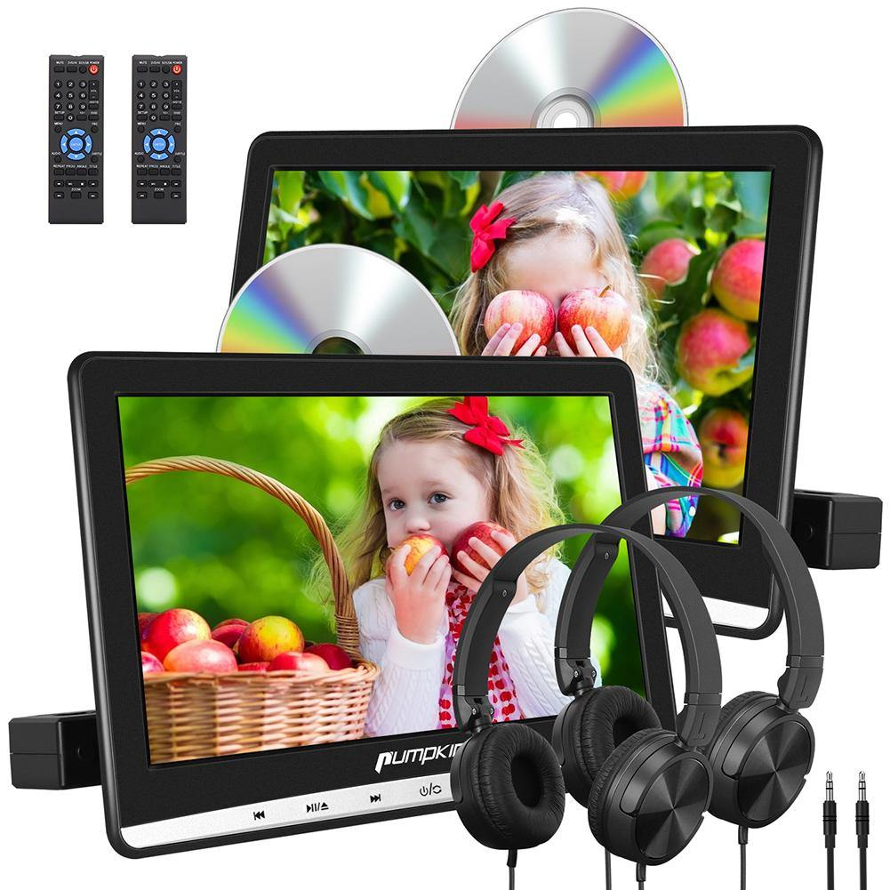 "10.1"" Headrest DVD Players with Dual Screens, 2 Headphones Supports Last Memory and Region FREE"