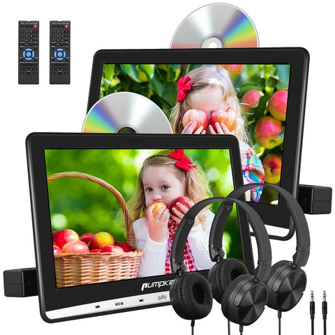 "10.1"" Dual Car DVD Players with 2 Headphones and Inhalation Drive Support Same/Different Video Playing, AV Out & in, Last Memory, Region Free"