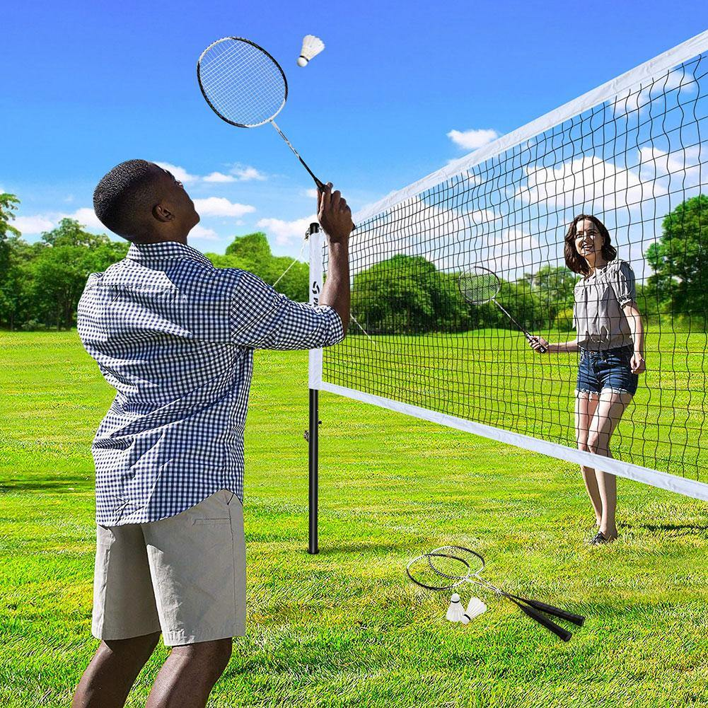 20*2.5ft Portable Badminton Set - Outdoor Backyard Party Set with Carrying Case, Easy Setup Nylon Sports Net with Poles - for Indoor or Outdoor Court, Beach, Driveway