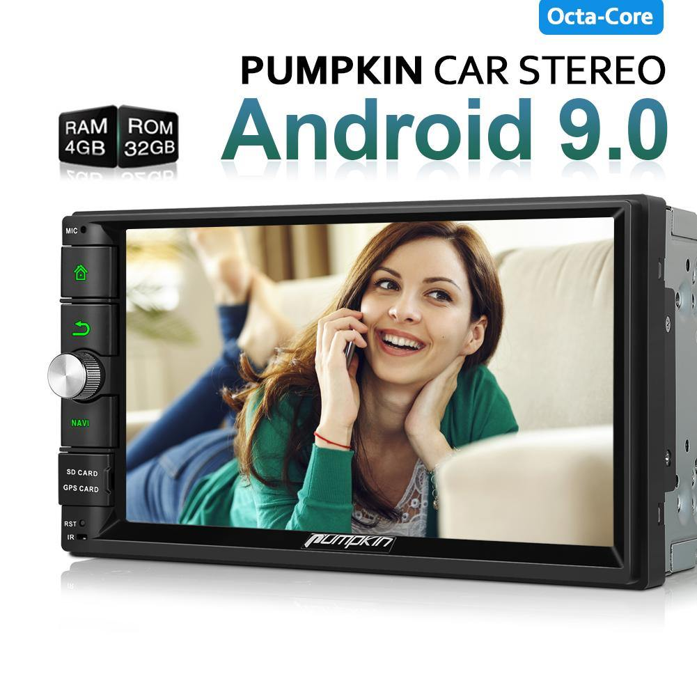 Pumpkin 2 Din 7-Inch Android 9.0 Octa-Core Universal Android Infotainment System Car Stereo with GPS, RBDS Radio, and Bluetooth