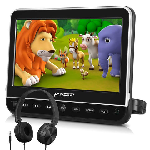 "10.1"" Headrest DVD Player of Clamshell Design with HD TFT Display and On-Ear Headphone Supports HDMI INPUT"