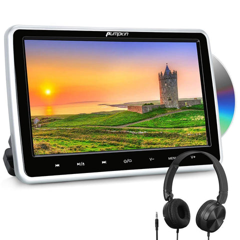 Pumpkin 10.1'' Auto DVD Player Set with Headrest DVD Player and Headphone HDMI IN, DVD Region Free USB SD