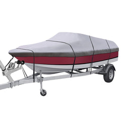 "Waterproof All Seasons 600D Boat Covers for 17-19"" V-Hull Tri-Hull Runabout, Free Boat Cover Support Kit & Storage Bag"