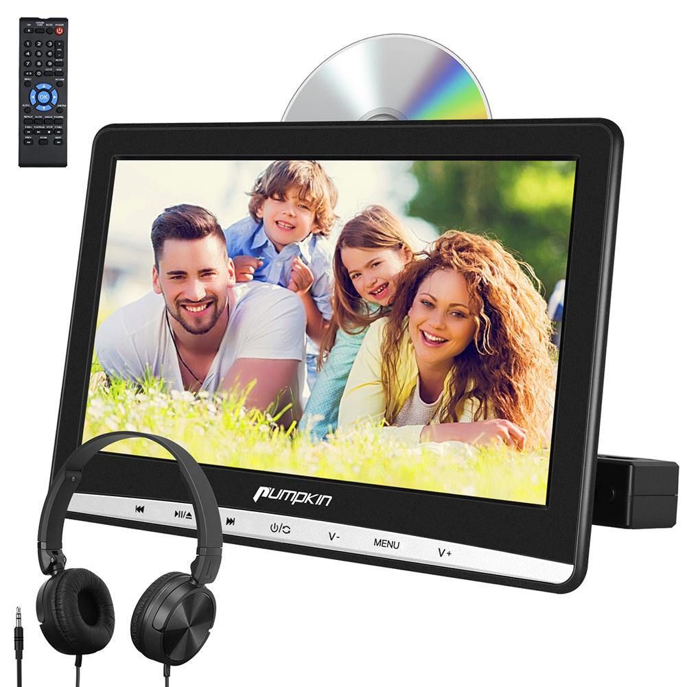 "12"" Car Headrest DVD Player with Low Blu Light IPS Screen Headset and Mount Bracket Support USB SD AV IN/OUT Last Memory"