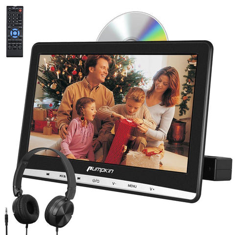 "Pumpkin 12"" IPS Screen Car Headrest Monitor DVD Player with Mount Bracket and HDMI Support USB SD AV IN/OUT"