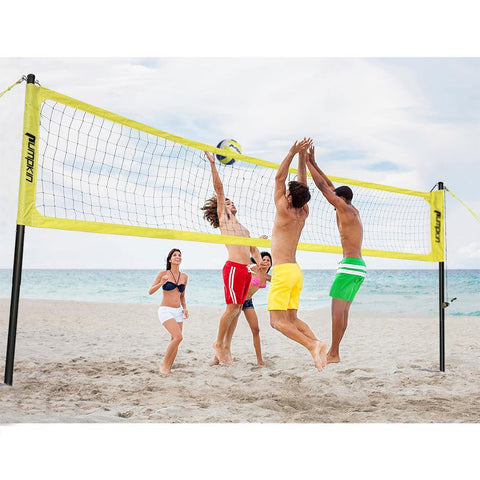 Portable Professional Outdoor Volleyball Net System for Outdoor Beach, Backyard with Storage Bag, Upgraded Adjustable Poles, Winch System for Anti Sag Net and Metal Stakes