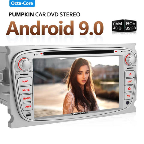"Pumpkin 2 Din 7"" Touchscreen Octa Core Android 9.0 Car Stereo with RAM:4GB/ROM:32GB for Ford Focus/Mondeo"