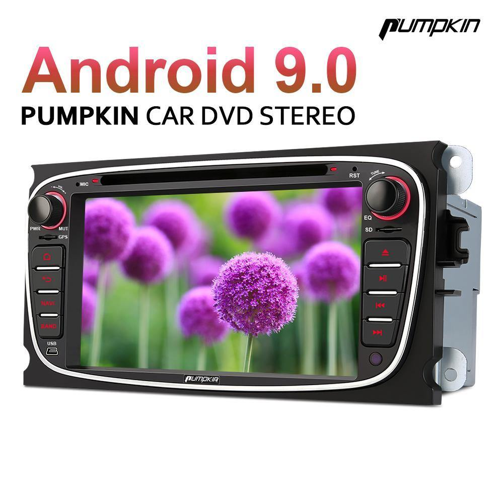 Pumpkin 7 Inch Double Din Android 9.0 Car Radio for Ford Focus/Mondeo with DVD Player, Touch Screen, GPS Navigation, Bluetooth