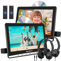 Pumpkin 12'' Dual Car DVD Player with 1366x768 IPS Screen and 2 Headphones Mounting Bracket Support AV IN/OUT DVD Region Free USB SD