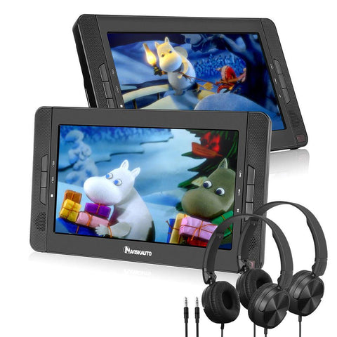 10.1'' HD Dual Portable DVD Player for Car Headrest with Headphone lithium-ion battery Support USB SD AV IN/OUT