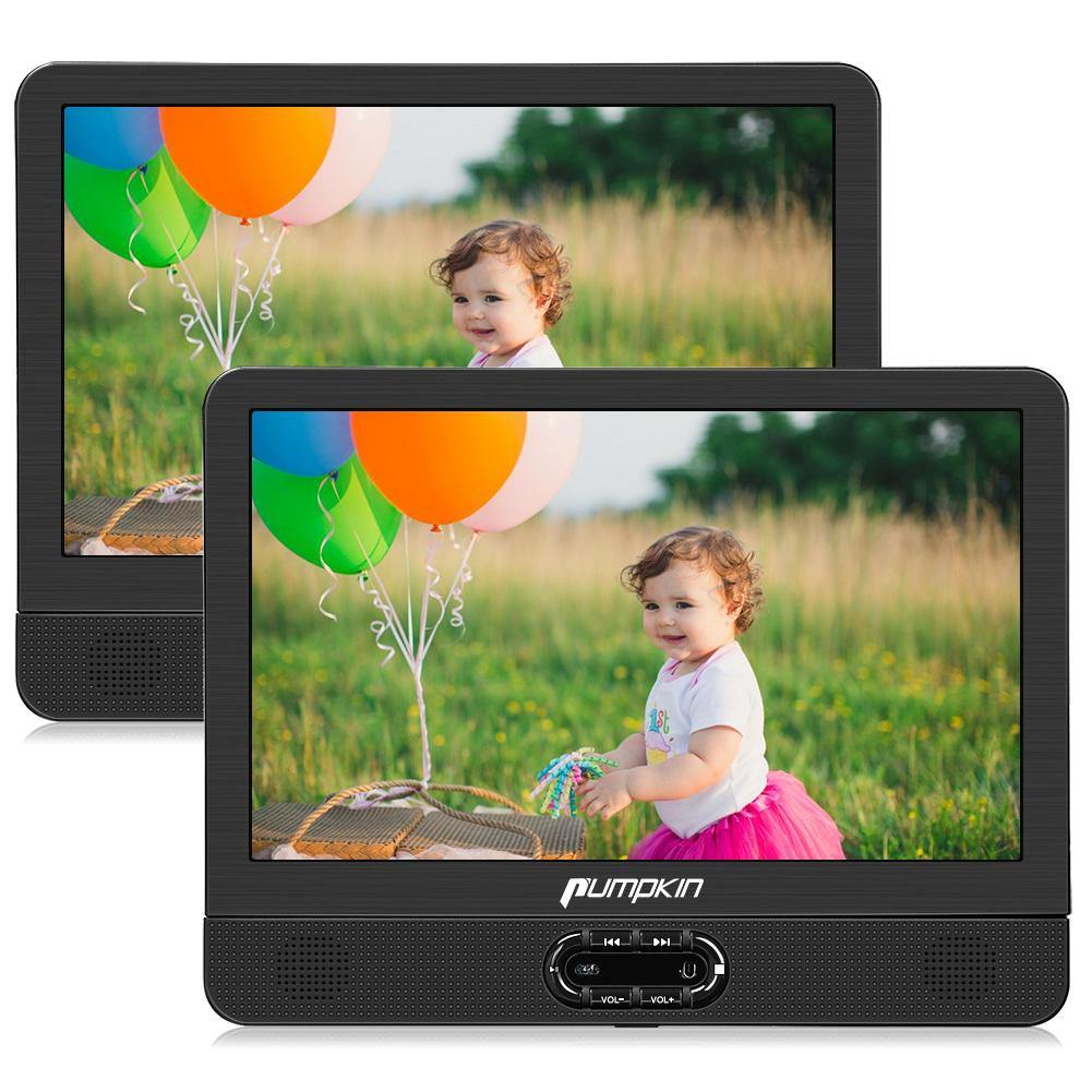 "12"" Headrest DVD Player with Dual Screens of Clamshell Design, Support USB/SD/MMC Playback, Last Memory"
