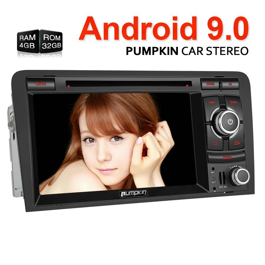 Pumpkin Audi A3 Radio Double Din 7 inch Touchscreen Android 9.0 Car Stereo head unit with GPS Navigation