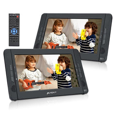 "10.1"" Headrest DVD Player with 2 Screens and 2 Headrest Bracket, Supports USB Port, SD Card Slot, Remote Control"