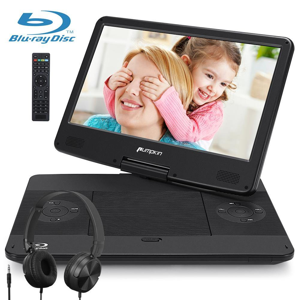 "14"" Portable Blu-Ray DVD Player with Wired Foldable Headsets, Built-in Rechargeable Battery, AUX Cable, Supports 1080P MP4 Video, HDMI Input/Output, Dolby Audio"