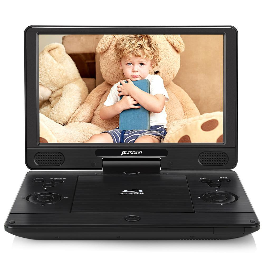 12 Inch Portable Blu Ray DVD Player with 4000mAh Rechargeable Battery and 1024×600 Swivel Screen Support HDMI Out, AV in, Dolby Audio