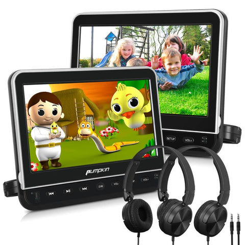 "10.1"" Headrest DVD Player with Dual Screens, Headrest Mount Bracket and Headphones, Supports HDMI & AV"