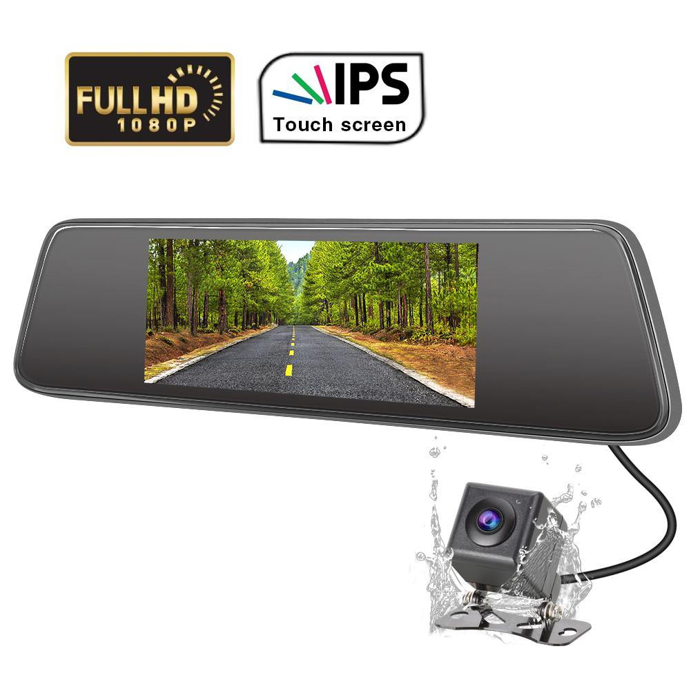 "7"" IPS touch screen Backup Camera Dash Cam Front and Rear 1080P+ 720P with Motion Sensor, G-Sensor, Loop Recording, Parking Monitor"