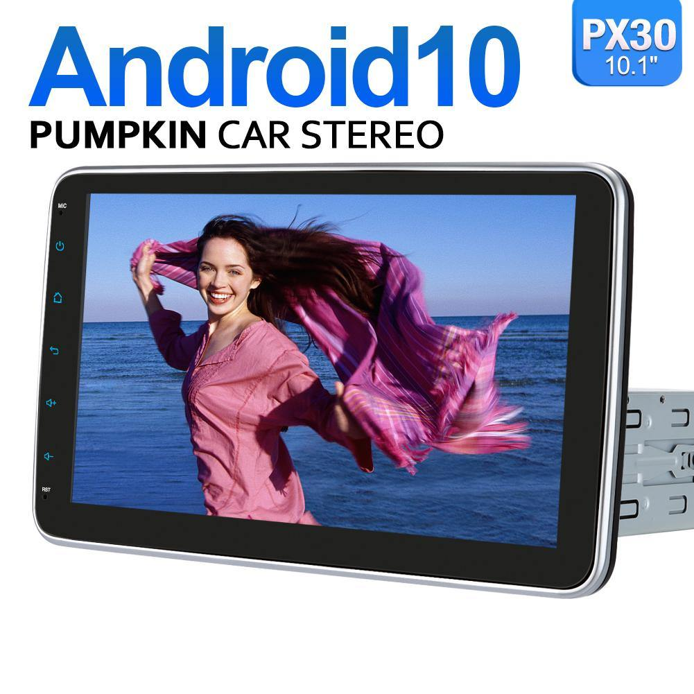 "Pumpkin 10.1""Android 10 Single Din Car Stereo Head Unit with Rotating Screen Support Carplay, OBD2, WIFI, Bluetooth"