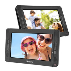 "10.1"" Dual Portable DVD Players for Car, Dual Screen DVD Player with 5-Hour Rechargeable Battery, Support USB/SD/MMC, Play a Same or Different Movies (2 X Portable DVD Player)"
