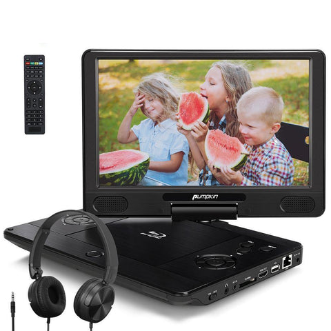 Pumpkin Portable Blu Ray Player with 12'' Swivel Screen and Headsets, Support 3 Hours Playing Time, HDMI Output, USB SD-Slot
