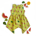 Watermelon Splash Handkerchief Hem Dress