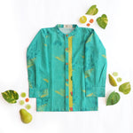 Teal Salad Pintuck Shirt