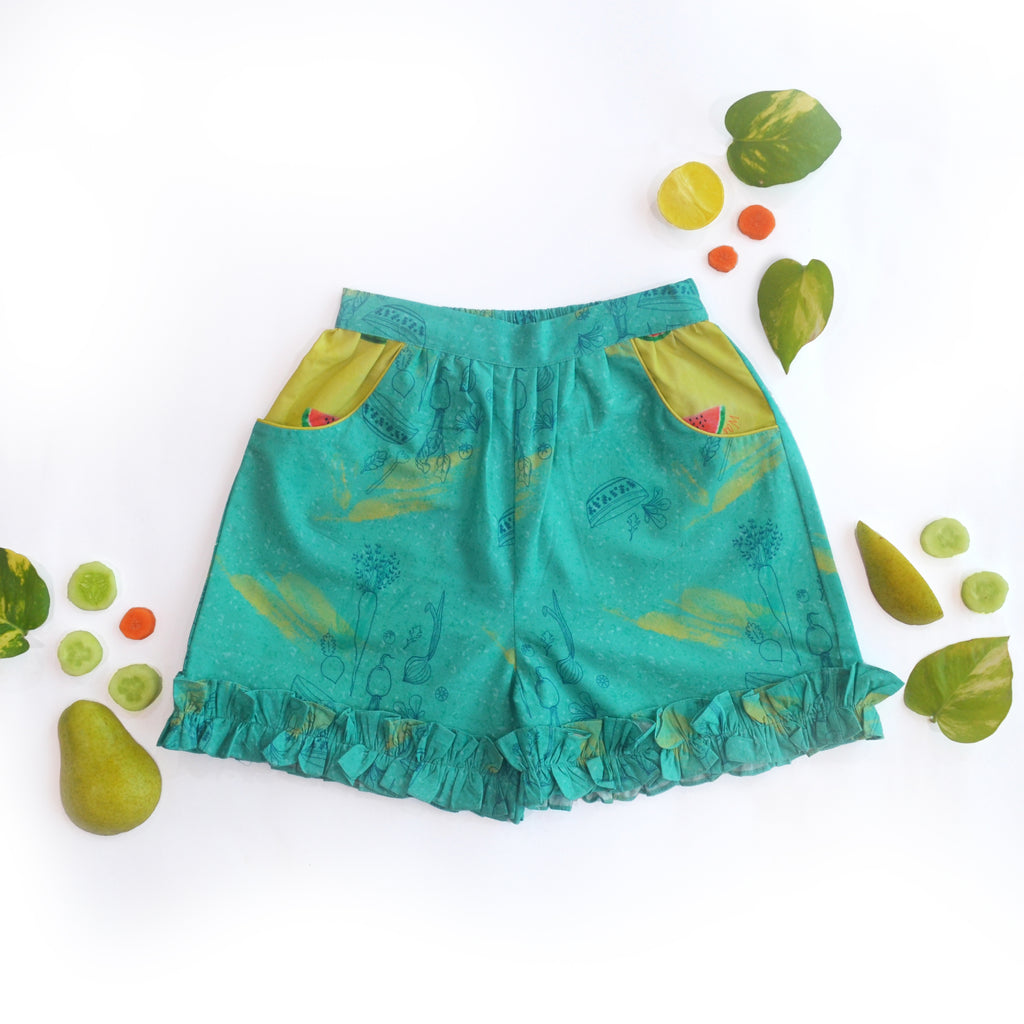 Teal Salad Frill Shorts