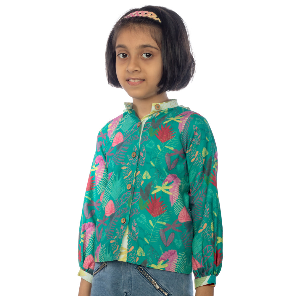 Green Leafy Big Girl Blouse