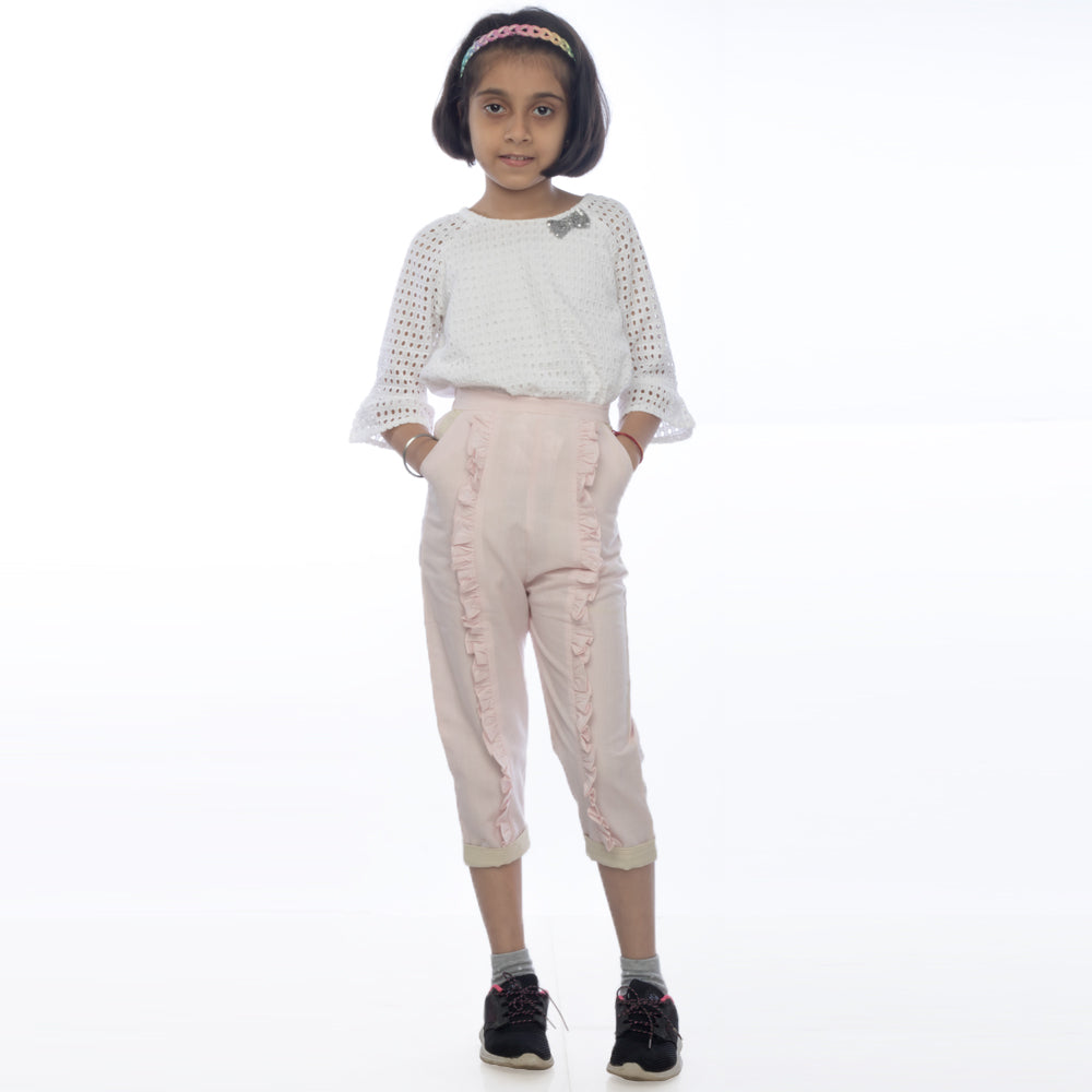 Pebble Pink Ruffle Pants
