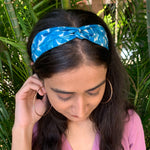 Blue Blooms Twisty Hairband
