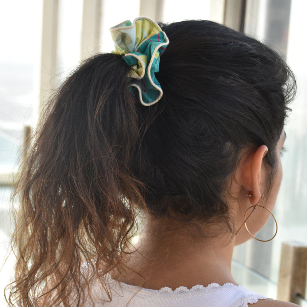 Leafy Forest Upcycled Scrunchie
