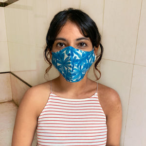 Blue Blooms Reversible Mask