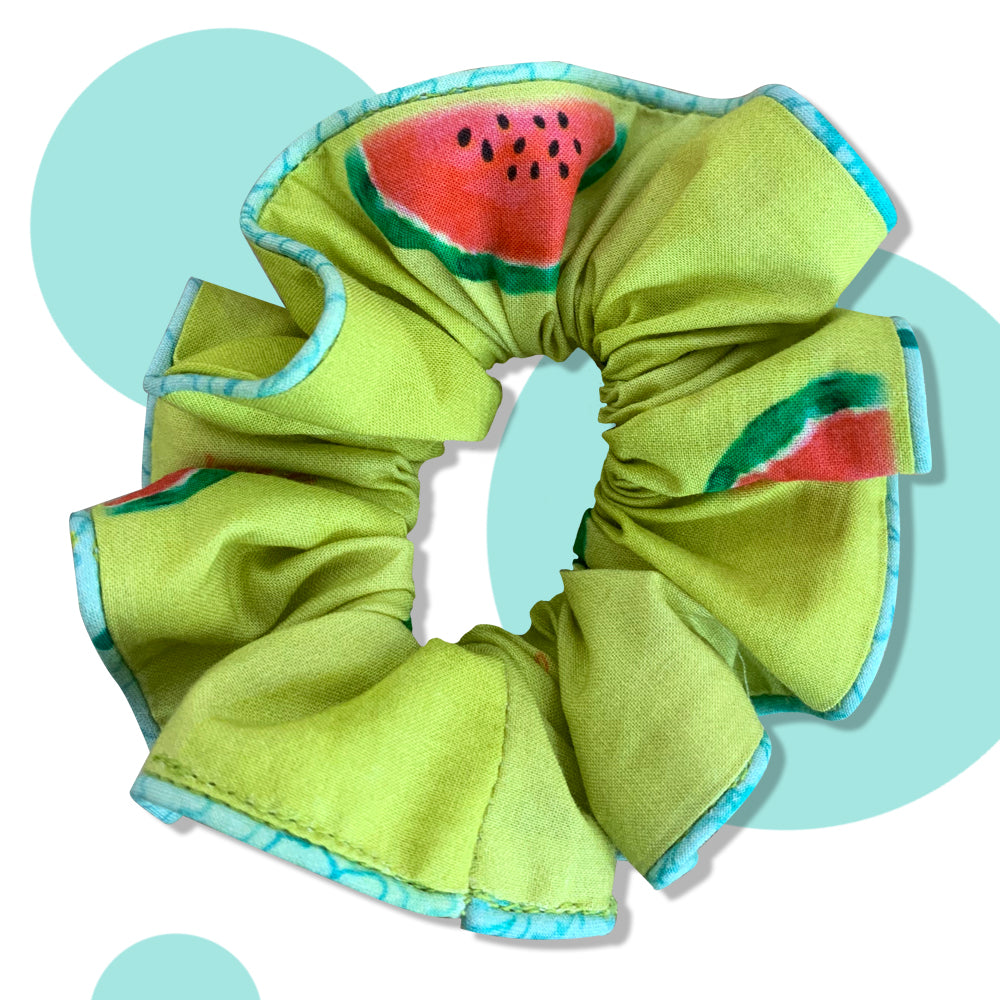 Watermelon Splash Upcycled Scrunchie