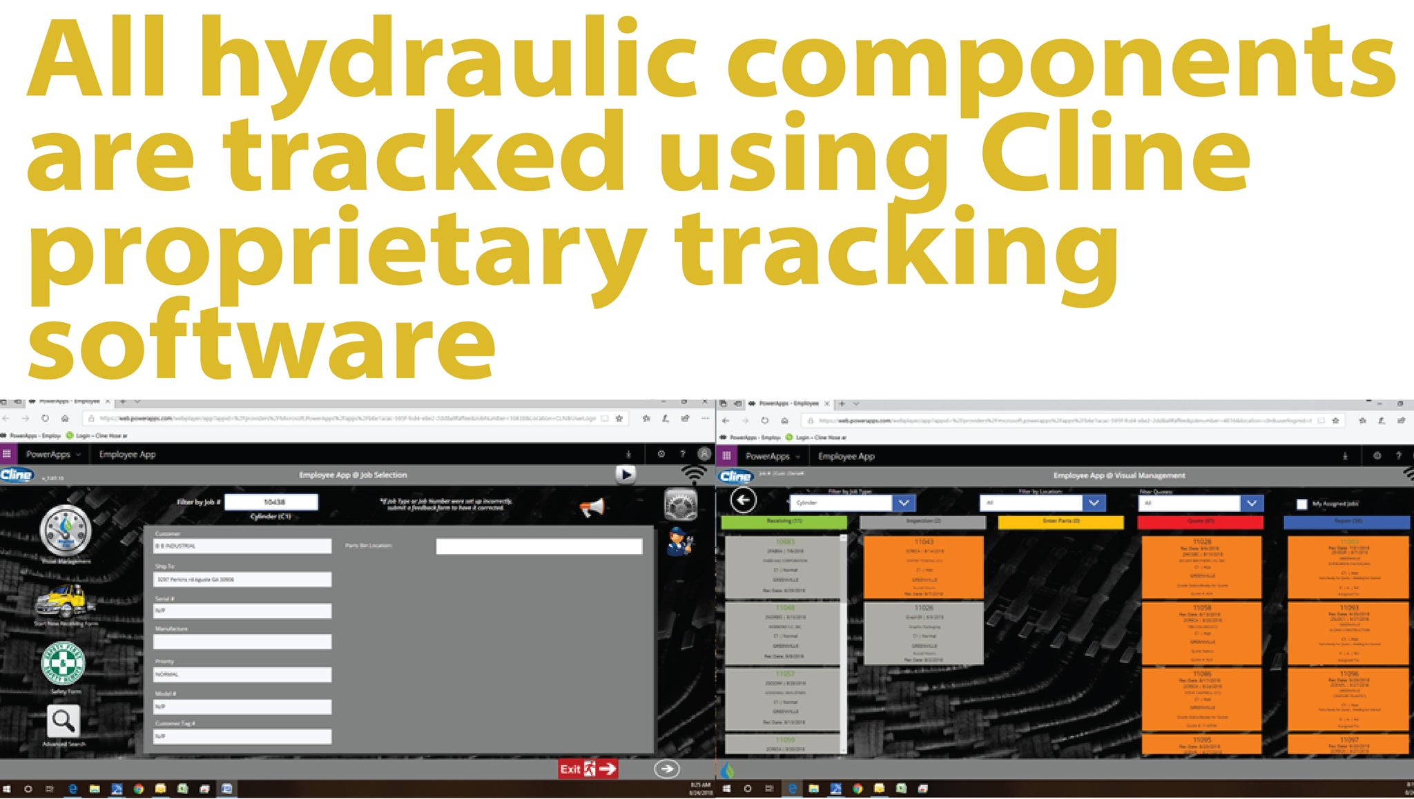Cline Confluent/Microsoft hydraulic component tracking software