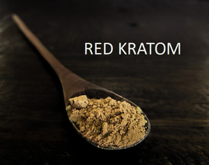 Red kratom strains as powder or capsules