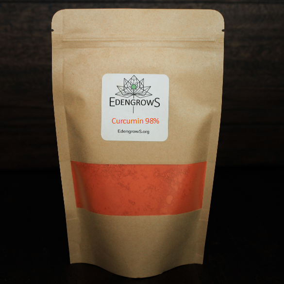 Fine strong curcumin extract in fresh keeping sealed bag from Edengrows