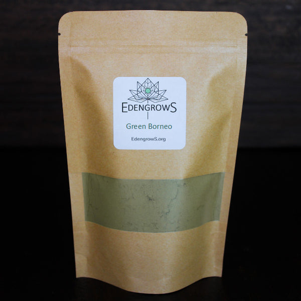 Green Borneo leaf powder in fresh keeping sealed bag for shipping