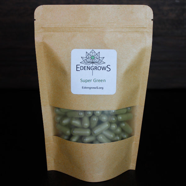 Super green capsules in a fresh keeping sealed bag for shipping